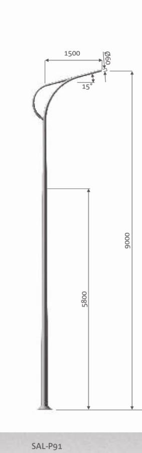 DESIGN SAL P91, Eclairage urbain, Eclairage urbain design, Eclairage public, mât aluminium design, candélabre led, é