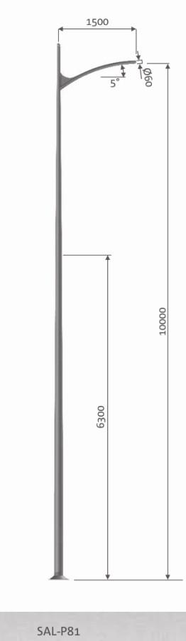 DESIGN SAL P81, Eclairage urbain, Eclairage urbain design, Eclairage public, mât aluminium design, candélabre led, é