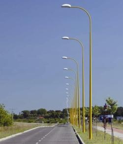 Mâts CC Ø base 176, hauteur de 7,5 à 12m, 1 bras cintré